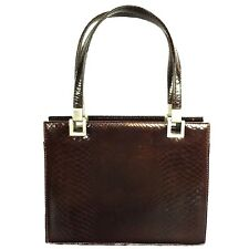 Dofan France  Purse Handbag Vintage 50 - 60s  Brown Embossed Bag Purse EUC