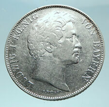 1840 GERMANY German States BAVARIA King Ludwig I Silver 1 Gulden Coin i79001