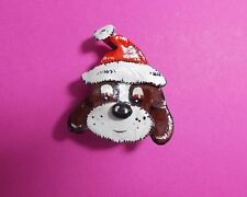 Handmade Hand Painted SANTA DOG BROOCH Festive DOG IN FATHER CHRISTMAS HAT PIN