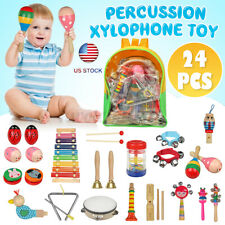 Us 10/19/24Pcs Toy Percussion Xylophone Set Kid Baby Wooden Musical Instrument