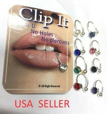 USA Seller Clip it,Fake Nose, Lip, Ear, Fake Belly Ring Body Piercing 9 Color