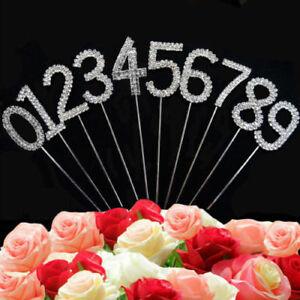 Diamante Diamond Rhinestone Gem Silver Gold Cake Pick Topper Party Anniversary