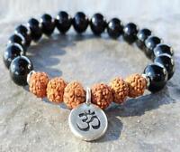 2017 New Design Grade Black Stone Rudraksha Bracelet High Quality Onyx Yogi Mala