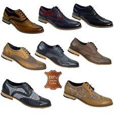 Hombre Cuero Real Zapatos Cuero Calado dos tonos Tweed Formal Informal Calzado De Boda