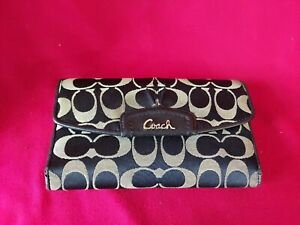 Coach Legacy Signature Fabric Slim Envelope Wallet Black/Gray