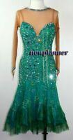 L1990 women ballroom Rhythm Latin samba swing dance dress UK12 US 10 green/ nude