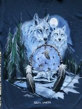 Vtg 90s Polar Graphics Wolf Wolves Dream Catcher South Dakota T Shirt Small New