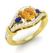 Citrine Ring 14K Yellow Gold with SI Diamond Sapphire CERTIFIED NATURAL 1.59ctw