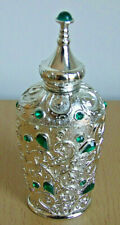 Used Empty refillable glass perfume bottle with wand silver with green stones