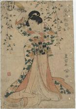 UW»Estampe japonaise originale Utagawa Toyokuni I - coustisane et lanterne  16