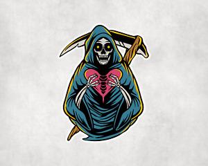 2 x Grim Reaper Death Sticker Car Bike Skateboarding Seal Laptop Indoor Decals