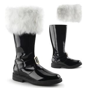 SAN102/B Mens Christmas Xmas Holiday Santa Claus Costume Boots w/ Removable Fur