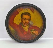 "Victorian snuff box hand painted huntsman with stirrup cup 4"" Papier Mache"