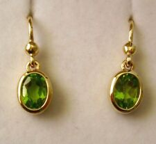 GENUINE 9K 9ct SOLID Gold  NATURAL PERIDOT HOOK DROP DANGLE EARRINGS
