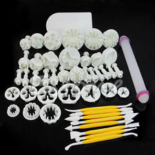 46Pcs Pack Cake Decorating Fondant Icing Plunger Cutters Tools Mold Sugarcraft
