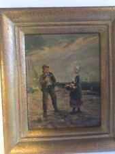 Antique Signed Oil On Board Painting Seaside Beach Scene