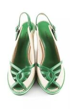 Marc Jacobs Green Leather Canvas Platform Sandals Shoes SZ 35.5 US 5.5 Italy