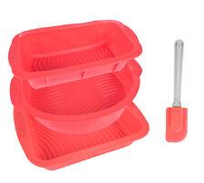 4er Set Silikon Backformen Rot Kastenform Kuchenform Tortenform Brotform Kuchen