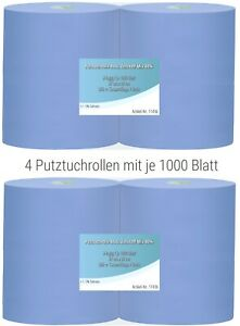4x 1000 Blatt Putztuchrolle Werkstatt PROFI Putzpapier blau Putzrollen 37cm