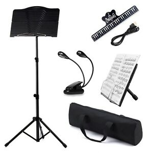 Heavy Duty Adjustable Orchestral Music Stand Holder Tripod W/ LED Light Clip Bag