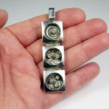 Swedish 1970s Mid Century Modernist Minimalist Sterling Silver Pendant 925 R2296