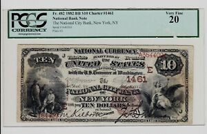 1882 Brown Back New York $10 National Banknote Charter 1461 PCGS VF-20