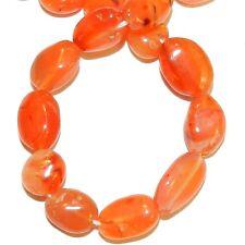 "NG2925f Red-Orange Carnelian 7-12mm Flat Oval Nugget Agate Gemstone Beads 13"""