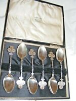 JEHOIADA ALSOP RHODES ANTIQUE SILVER PLATED SET OF SIX ORNATE SPOONS IN BOX 19TH