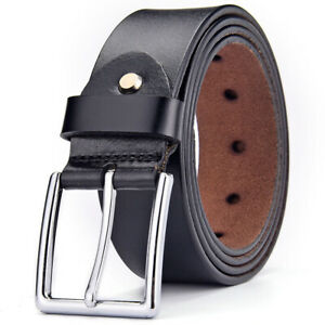 Mens Genuine Leather Belt Casual Formal Belts Pin Buckle Black Brown (Gift Bag)