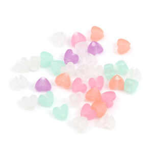 100 Glow In The Dark Heart Beads - Acrylic Mixed Pack - 10mmx10mm - J251562