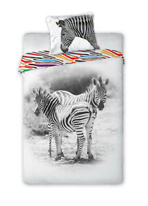 Youth Bed Cover Wild Animals Tiger Zebra Rabbit 55 1/8/63x78 11/16in