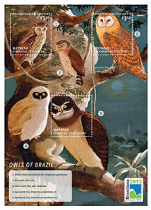 Mayreau 2013 - Owls of Brazil - Sheet of 3 Stamps - MNH