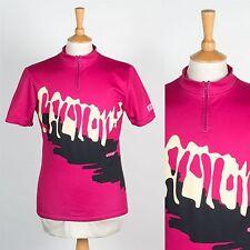 VINTAGE RETRO 90'S CYCLING SHIRT RACE JERSEY BRIGHT PINK NEON LOUD ROAD BIKE M