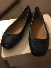 New Tory Burch Laila 2 Metallic Leather Driver Ballet Flat Shoes Navy Size 9