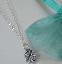 Good Luck Lucky 4 Four Leaf Clover Charm Necklace Gift Competition Exams Travel