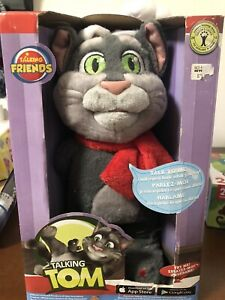 ~New RARE Talking Tom Cat Christmas Santa Talk Back Plush Sound HTF Friends