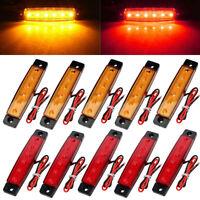 10 Pcs Red Amber 12v 6 Led Side Marker Indicators Lights Truck Trailer Bus Lamp