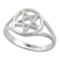 "Sterling Silver 5 Point Star Pentagram Ring Polished Finish 1/2"" wide"