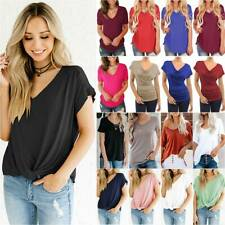 Womens Plain V Neck Short Sleeve T-shirt Tops Ladies Summer Blouse Basic Tee AU