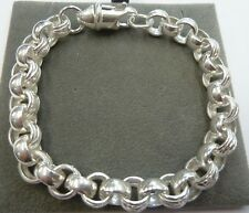 "Sterling Silver 925 Plain & Patterned 8 1/2"" Belcher Bracelet 31 grams  -8.8mm"