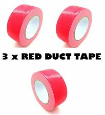 3 x Red AUTO Grade DUCT Tape Gaffa Cloth Strong 48mm x 50m Waterproof Strong