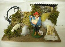 Personaggio Presepe Pastore Tosa Pecore con Movimento Natale Decorazione 15 cm