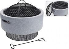 Feuerstelle mit Funkengitter und Grillrost, rund mit Sockel, Feuerschale Grill