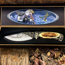 """10"""" Eagle Pattern Handle Full Tang Fixed Blade Engraved Hunting Knife /Gift Box"""