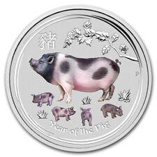 Perth Mint Australia Lunar II Anno Des Maiale 2019 Colore 0,5 1/2 oz 999 Silber