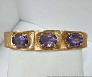 Sz6.5 26.8ctw Amethyst 18K Yellow Gold Retro Deco Handmade Hinged Bracelet 25.9g