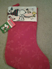 """SNOOPY & WOODSTOCK SLED & SNOWFLAKES 15"""" FABRIC CHRISTMAS STOCKING TO FILL WOW!!"""