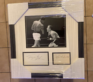 Rare SUGAR RAY ROBINSON Jake LaMotta Dual SIGNED Boxing Photo JSA Auto Framed