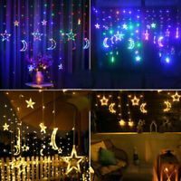 3.5M Twinkling Star Moon LED Fairy String Curtain Lights Window Wedding Party UK