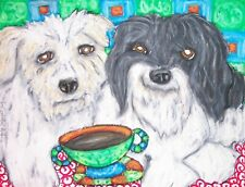 Havanese Drinking Coffee 8x10 Collectible Dog Art Print Signed by Artist Ksams
